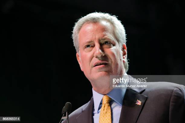 New York City Mayor Bill de Blasio speaks to supporters as he takes part in a campaign rally on October 30 2017 in New York City New York City Mayor...
