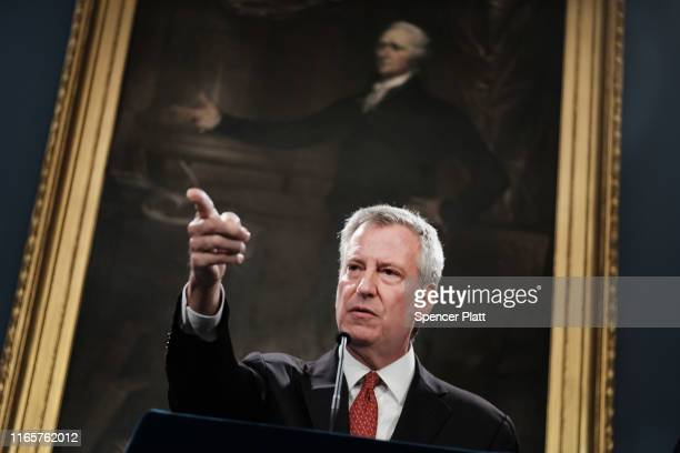 New York City Mayor Bill de Blasio speaks to the media following news that a judge has recommended that Daniel Pantaleo, the New York City police...