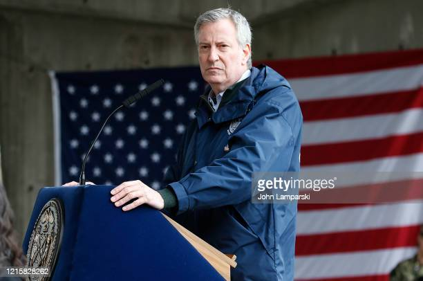 New York City Mayor Bill de Blasio speaks to the press as the USNS Comfort arrives at Pier 90 on March 30, 2020 in New York City. The Comfort, a...