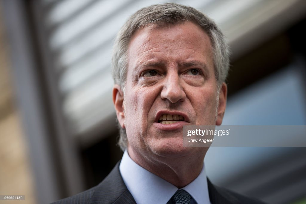 Mayor De Blasio Holds News Conference Outside Foster Facility Believed To Have Housed Immigrant Children Separated From Parents : News Photo