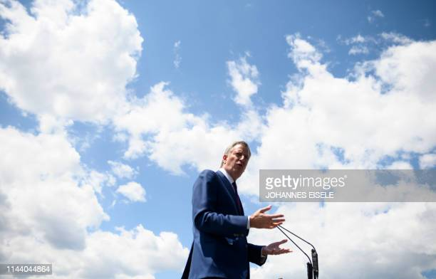 New York City Mayor Bill de Blasio speaks to the press in Wagner Park on May 16 2019 B Bill de Blasio the Democratic Mayor of New York City announced...