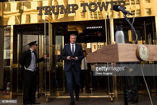 New York City mayor Bill de Blasio walks out of Trump Tower to speak to the press after his meeting with presidentelect Donald Trump November 16 2016...