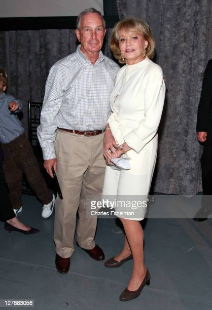 New York City Mayor Michael Bloomberg and broadcast journalist Barbara Walters attend the NYU Langone Medical Center celebration at the Intrepid...
