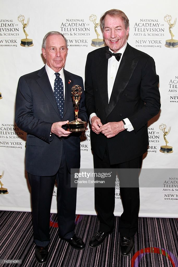 New York City Mayor Michael Bloomberg and Charlie Rose attend the 55th Annual New York Emmy Awards gala at the Marriott Marquis Times Square on April 1, 2012 in New York City.
