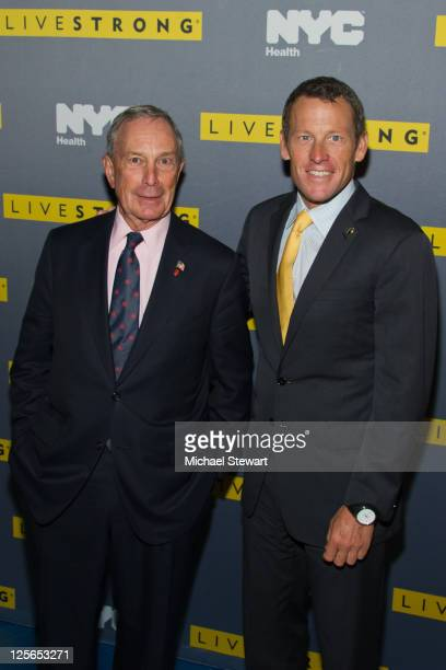 New York City Mayor Michael Bloomberg and LIVESTRONG Founder/Chairman Lance Armstrong attend the LIVESTRONG premiere of 'Delivering Hope Cancer Care...