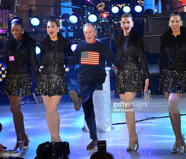 New York City Mayor Michael Bloomberg celebrates New Year's Eve 2013 In Times Square with the Rockettes at Times Square on December 31 2012 in New...