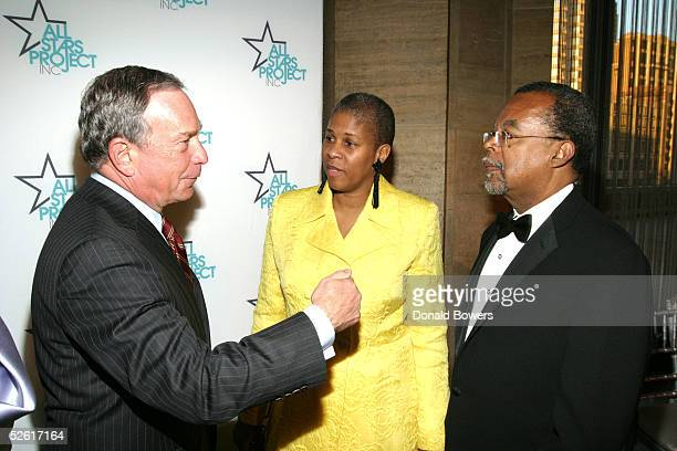 New York City Mayor Michael Bloomberg Dr Lenora Fulani and Dr Henry Louis Gates Jr attend the All Stars Project Charity Gala at Lincoln Center April...