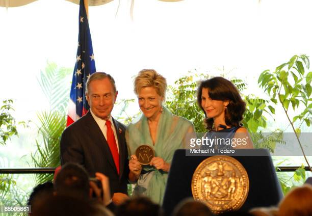 New York City Mayor Michael Bloomberg Edie Falco and Katherine Oliver attend the 4th Annual Made In NY Awards at the Gracie Mansion on June 15 2009...