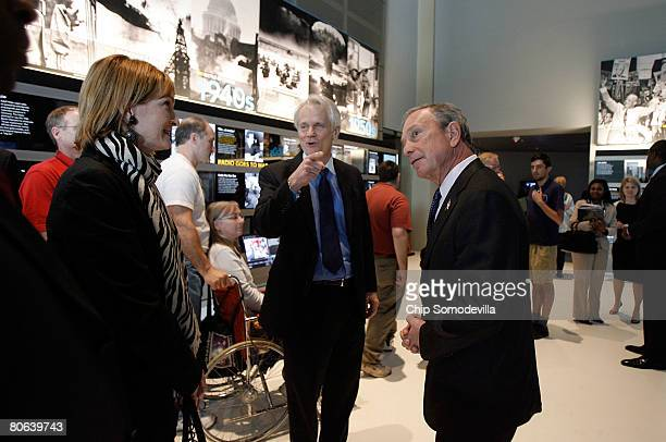 New York City Mayor Michael Bloomberg gets a tour of the exhibit his company sponsored from Newseum Trustee and former Los Angeles Times Editor...