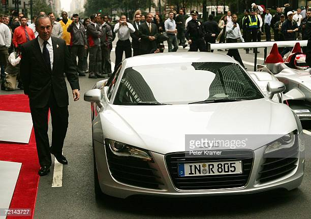 New York City Mayor Michael Bloomberg helps Audi unveil it's new sports car The Audi R8 at the Audi forum on Park Avenue on October 11 2006 in New...