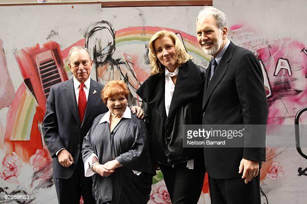 New York City Mayor Michael Bloomberg human rights organizer Helen Bamber actress Emma Thompson and NYU President John Sexton attend the Journey...