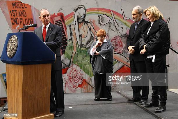 New York City Mayor Michael Bloomberg human rights organizer Helen Bamber NYU President John Sexton and actress Emma Thompson attend the Journey...
