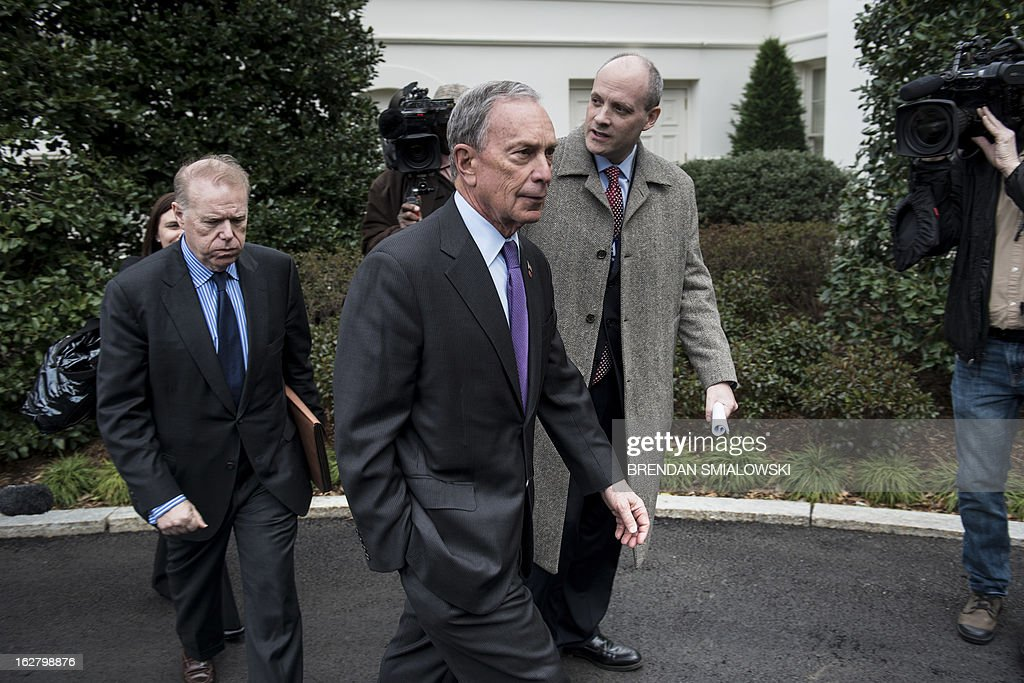 New York City Mayor Michael Bloomberg leaves the White House after a meeting on February 27, 2013 in Washington, DC. Bloomberg and US Vice President Joseph R. Biden met to speak about gun control and gun violence. AFP PHOTO/Brendan SMIALOWSKI