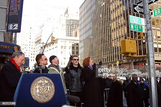 New York City Mayor Michael Bloomberg musicians Adam Clayton Bono The Edge Larry Mullen jr of the band U2 and New York City Council Speaker Christine...