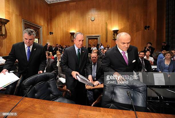 New York City Mayor Michael Bloomberg New York City Police Commissioner Raymond Kelly and Rep Peter King RNY arrive for a hearing on Terrorists and...