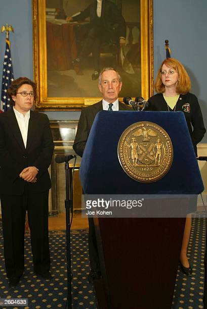 New York City Mayor Michael Bloomberg speaks at a media conference as National Transportation Safety Board Chairwoman Ellen Englemen and US...