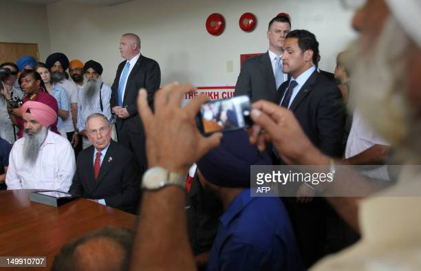 New York City Mayor Michael Bloomberg speaks at the at the Sikh Cultural Center in Richmond Hill Queens in New York on August 6 2012 The Mayor's...
