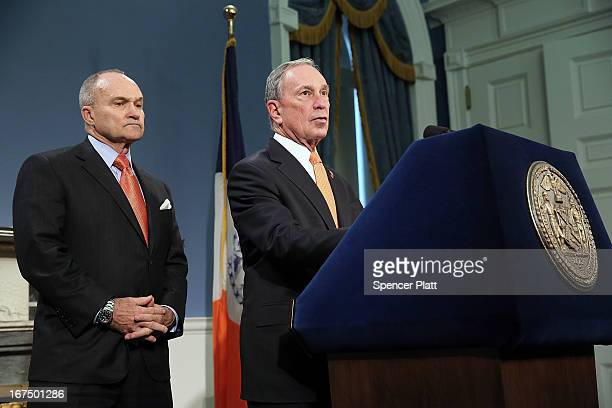 New York City Mayor Michael Bloomberg speaks during a news conference as Police Commissioner Raymond Kelly listens at City Hall announcing that the...