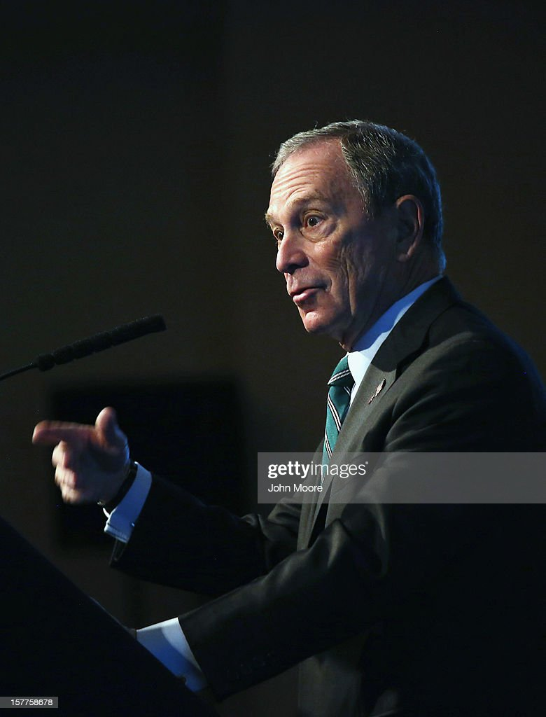 New York City Mayor Michael Bloomberg speaks on long-term challenges facing the city following Superstorm Sandy on December 6, 2012 in New York City. Bloomberg, who was introduced by former Vice President Al Gore, addressed the Regional Plan Association and the New York League of Conservation Voters in downtown New York City.