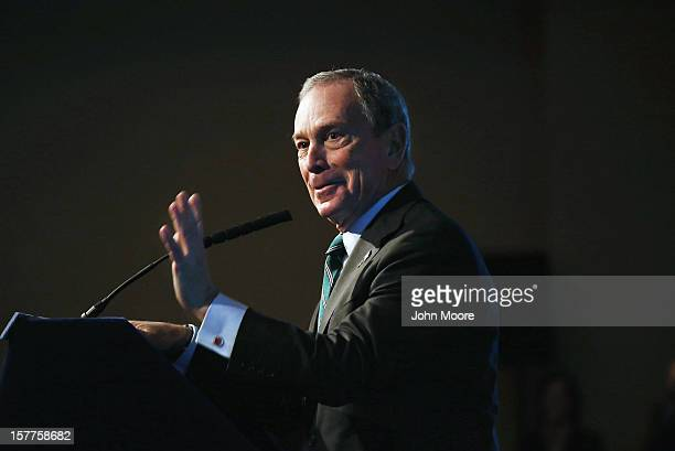 New York City Mayor Michael Bloomberg speaks on longterm challenges facing the city following Superstorm Sandy on December 6 2012 in New York City...