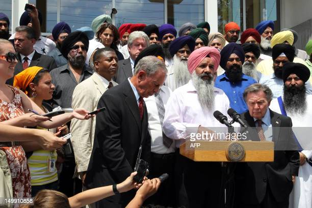 New York City Mayor Michael Bloomberg speaks outside of the Sikh Cultural Center in Richmond Hill Queens in New York on August 6 2012 The Mayor's...