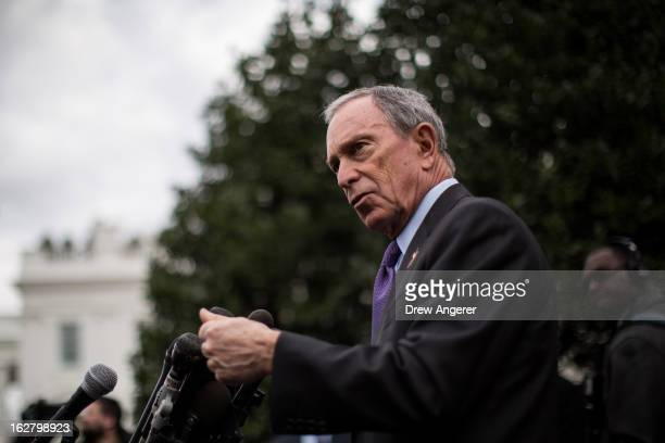 New York City Mayor Michael Bloomberg speaks to the media outside the West Wing of the White House after meeting with Vice President Joe Biden,...