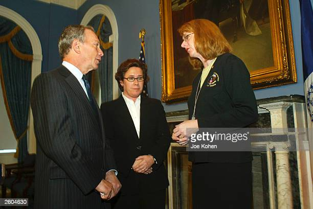New York City Mayor Michael Bloomberg speaks with National Transportation Safety Board Chairwoman Ellen Englemen and US Department of Transportation...
