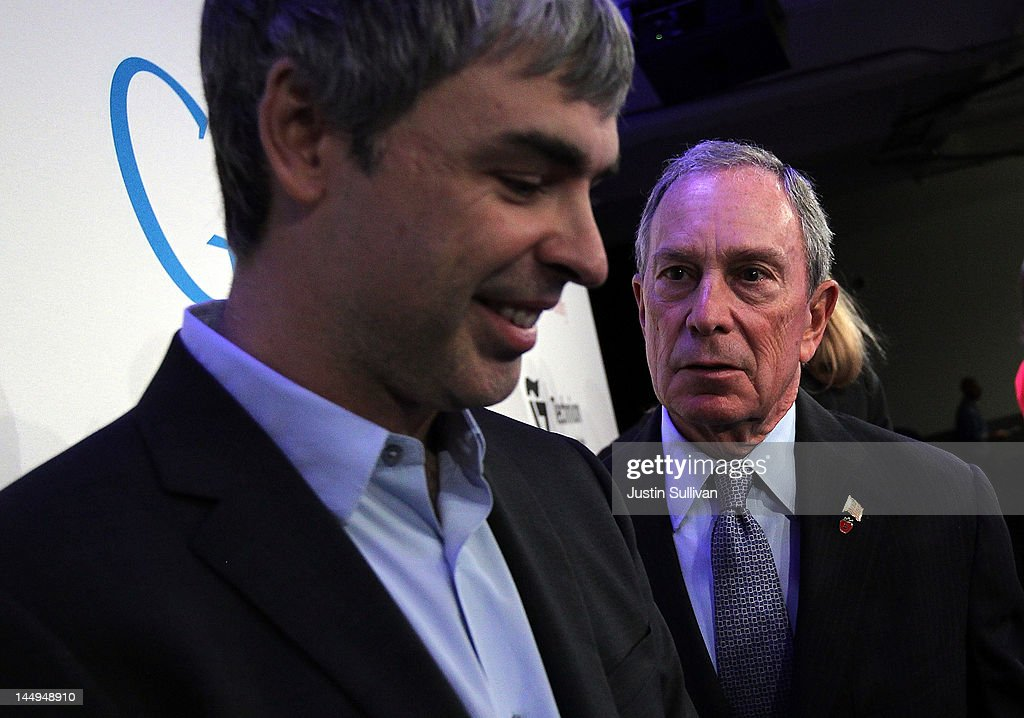New York City Mayor Michael Bloomberg (R) talks with Google co-founder and CEO Larry Page after a news conference at the Google offices on May 21, 2012 in New York City. Google announced today that it will allocate 22,000 square feet of space in its New York headquarters to CornellNYC Tech while the university completes its new campus on Roosevelt Island.