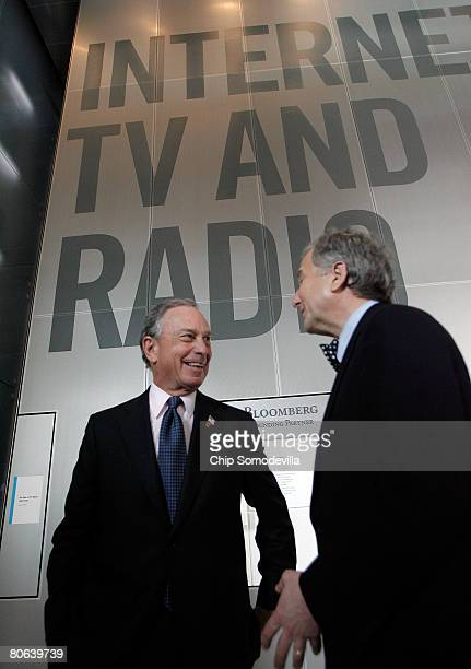 New York City Mayor Michael Bloomberg tours of the exhibit his company sponsored during the grand opening of the Newseum April 11, 2008 in...