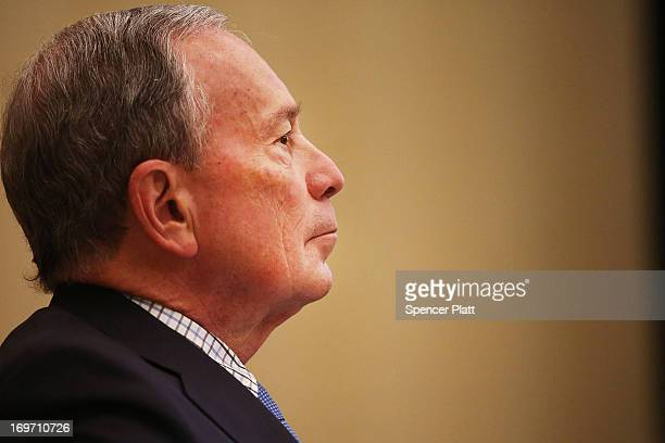 New York City Mayor Michael Bloomberg waits to speak at the North American Board Meeting for the Union for Reform Judaism on May 31 2013 in New York...
