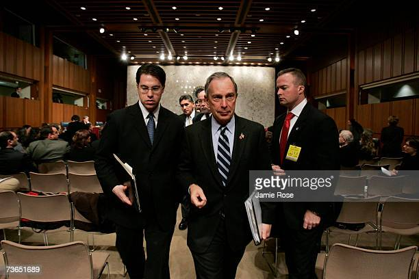 New York City Mayor Michael Bloomberg walks out of the hearing where he testified before the Senate Committee on Health, Education, Labor and...