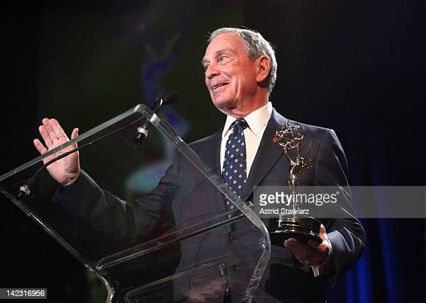 New York City Mayor Michael R Bloomberg accepts the Governor's Award at the 55th Annual New York Emmy Awards gala at the Marriott Marquis Times...
