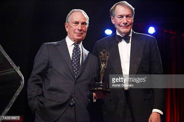 New York City Mayor Michael R Bloomberg accepts the Governor's Award from Charlie Rose at the 55th Annual New York Emmy Awards gala at the Marriott...