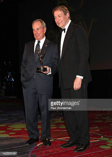 New York City Mayor Michael R Bloomberg receives an Emmy Award for his extraordinary contibutions to advance and promote television in New York City...