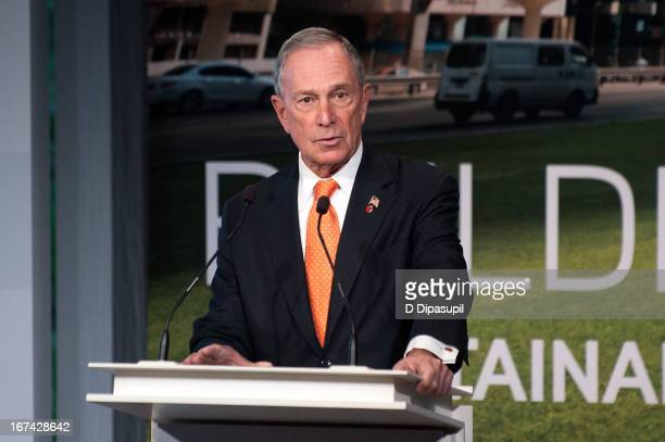 New York City mayor Michael R Bloomberg speaks on stage during the 2013 Energy For Tomorrow Conference at The Times Center on April 25 2013 in New...