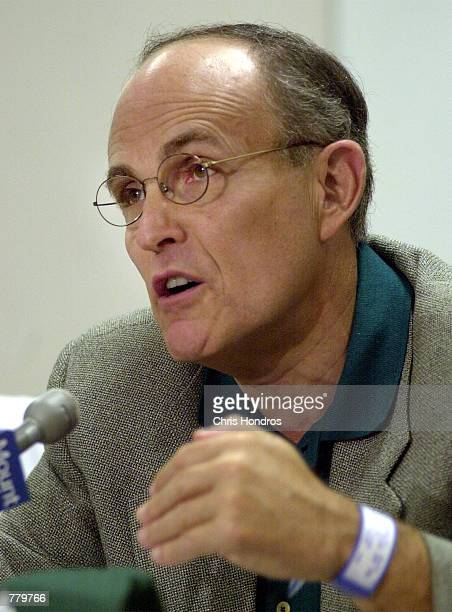 New York City Mayor Rudolph Giuliani talks with reporters September 15 2000 at Mt Sinai hospital in New York City Mayor Giuliani underwent surgery to...