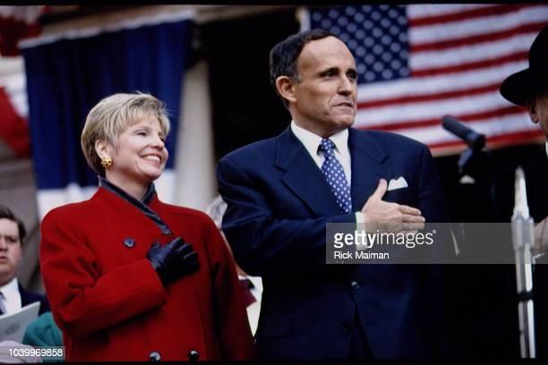 New York City Mayor Rudolph Giuliani with his wife Donna Giuliani