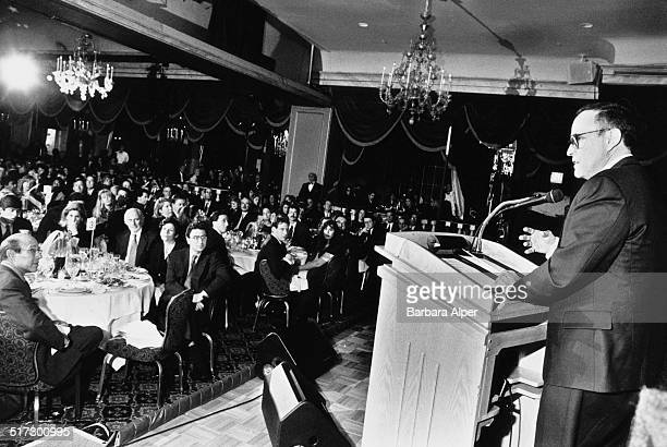 New York City Mayor Rudy Giuliani speaking at a press conference in New York City USA 1995