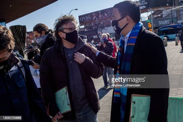 New York City mayoral candidate Andrew Yang collects signatures to be on the Democratic primary ballot as he campaigns for mayor, March 3, 2021 in...
