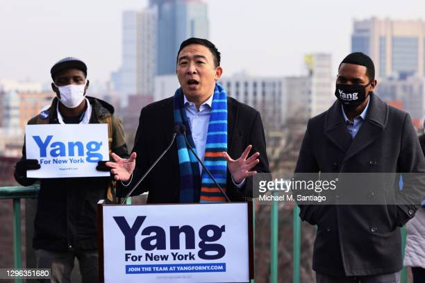 New York City Mayoral candidate Andrew Yang speaks at a press conference on January 14, 2021 in New York City. Former presidential candidate Andrew...