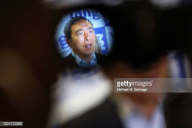 New York City mayoral candidate Andrew Yang speaks during a press conference with Assembly Member Simcha Eichenstein on June 21, 2021 in the...