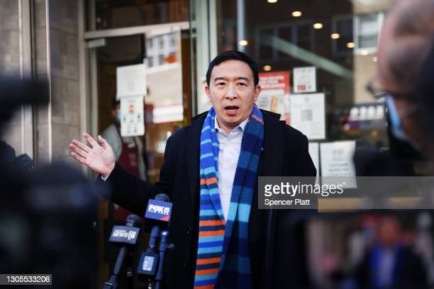 New York City Mayoral candidate Andrew Yang speaks to the media as he visits Xi'an Famous Foods in Chinatown on March 05, 2021 in New York City. Yang...