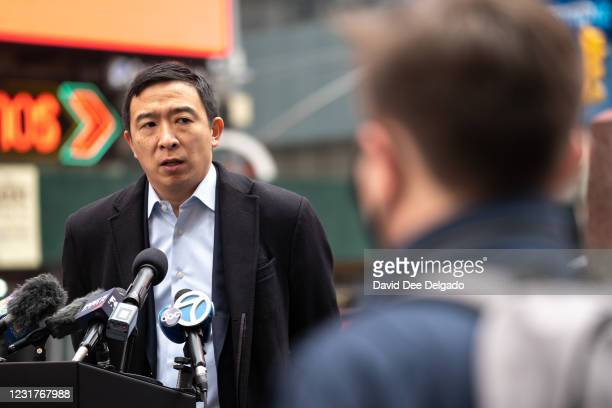 New York City Mayoral candidate Andrew Yang speaks to the media at Times Square about the recent mass shootings in Atlanta that left 8 dead,...