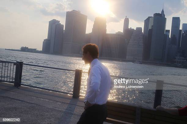 New York City mayoral candidate Anthony Weiner campaigns in the Brooklyn Bridge Park where he was denied a speaking roll at a Parks Department...