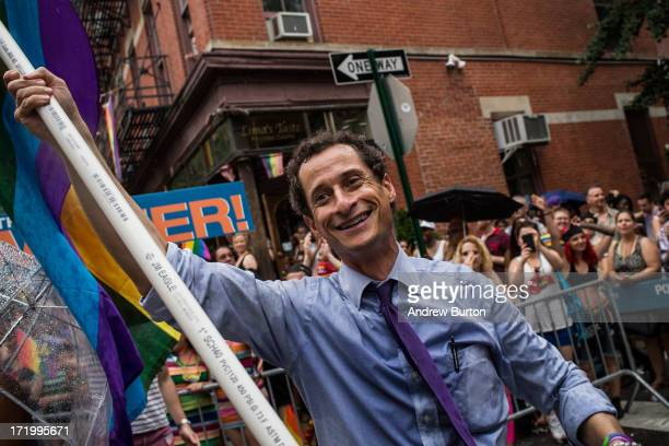 New York City mayoral candidate Anthony Weiner marches in the New York Gay Pride Parade on June 30 2013 in New York City This year's parade was a...