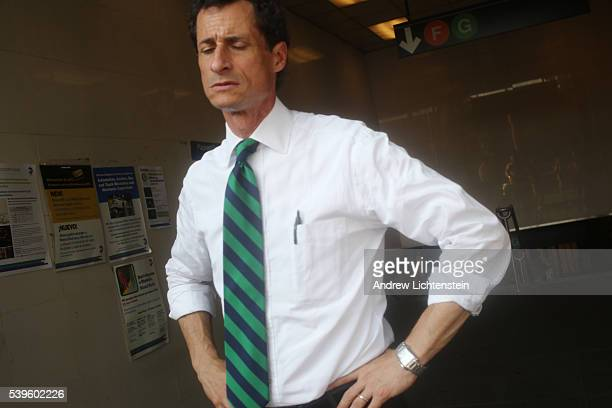New York City mayoral candidate Anthony Weiner struggles to connect with busy New Yorkers exiting the Carroll Street F train stop on one of the...