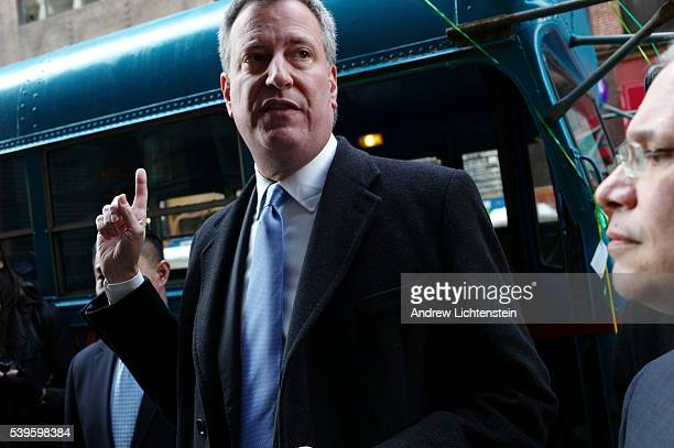 New York City mayoral candidate Bil deBlasio holds a press conference to discuss educational reform
