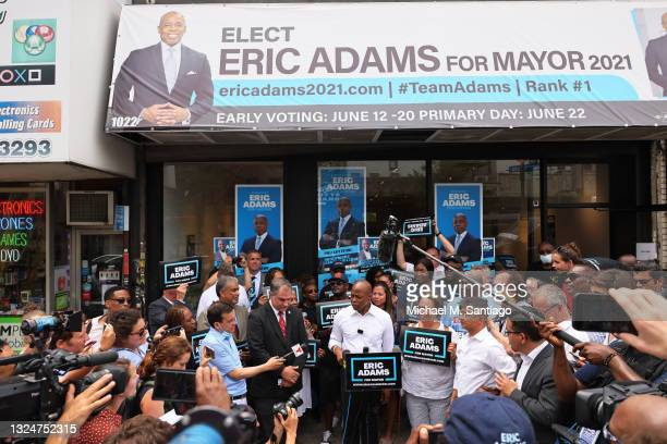 New York City mayoral candidate Eric Adams speaks during a Get Out the Vote rally on June 21, 2021 in the Prospect Lefferts Gardens neighborhood of...