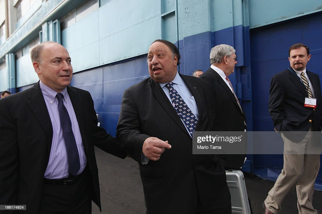 New York City mayoral candidate John Catsimatidis (C) enters a political forum hosted on a boat in Manhattan on April 9, 2013 in New York City. Six mayoral candidates spoke at the Metropolitan Waterfront Alliance's 2013 Waterfront Conference ahead of the November 2013 mayoral election.