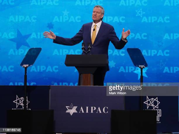 New York City Mayor Bill de Blasio speaks at the annual American Israel Public Affairs Committee conference on March 25 2019 in Washington DC